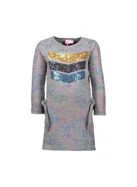 Kidz Art Girls rib dress l/s multi color foil coating