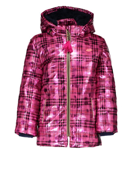 Kidz Art Girls fancy check long jacket with detachable hood
