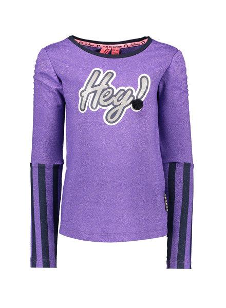 B.nosy Girls Shirtt wit elastic sleeve, stripe,foil print with pompom