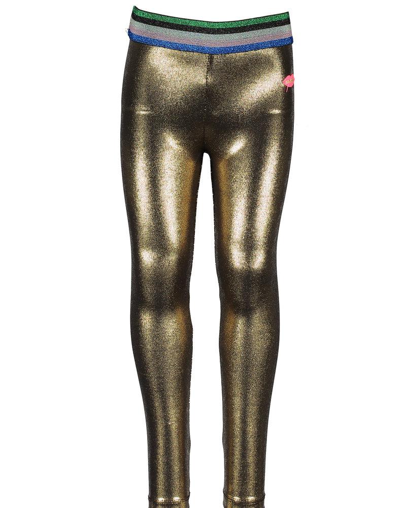 Kidz Art Girls fancy coated legging + stripe elastic waist