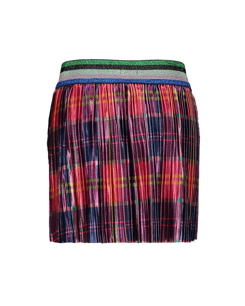 Kidz Art Girls printed + plissé velvet skirt with elastic waist