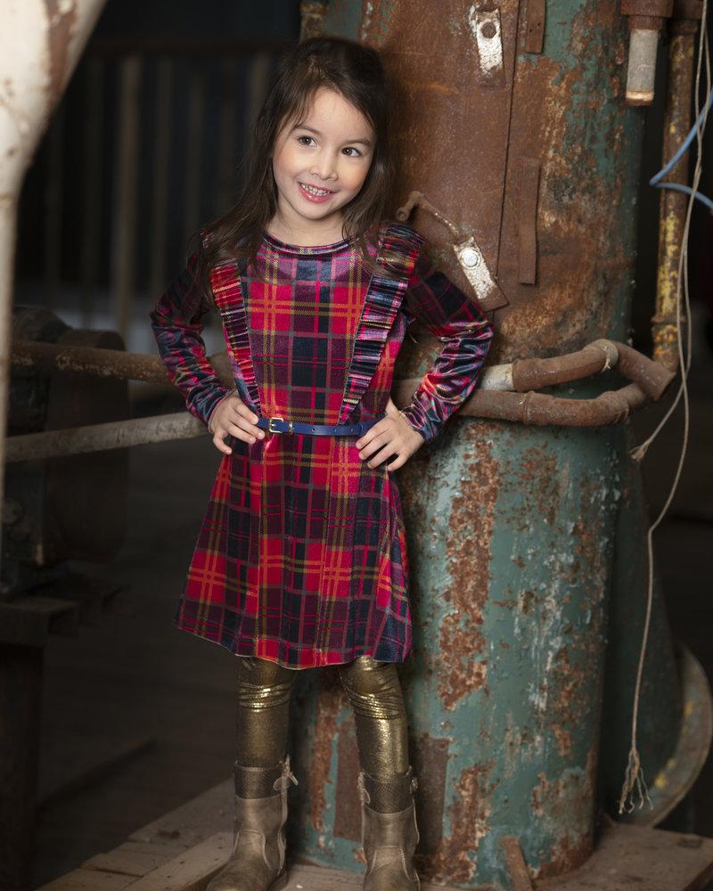 Kidz Art Girls printed velvet dress l/s with plissé ruffles + blue belt