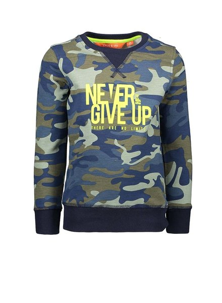 Tygo & Vito Boys Sweater AOP Camouflage never give up Color: d.army