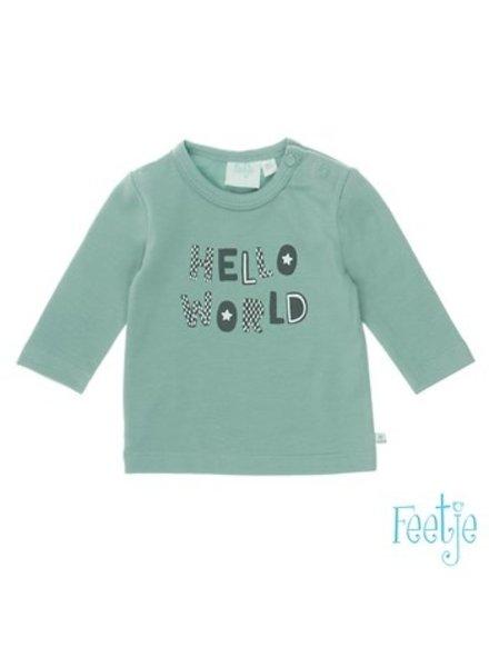 Feetje Boys longsleeve Hello World Color: mint