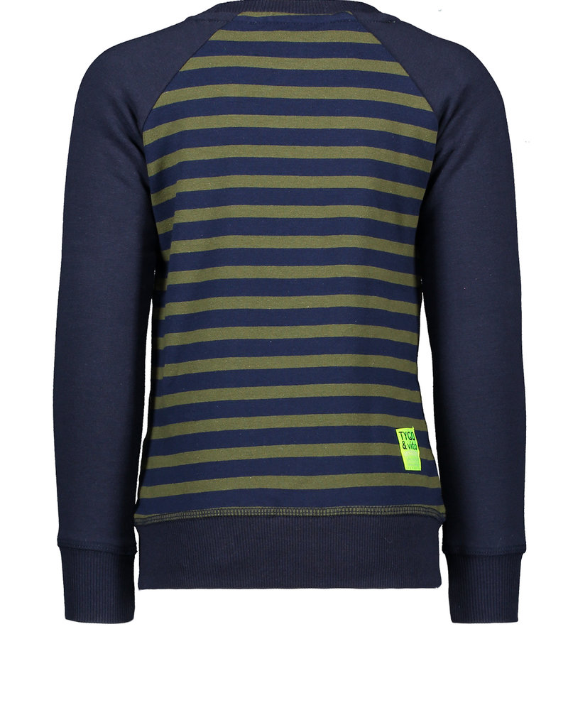 Tygo & Vito Boys Sweater combi panel/stripes NO RULES Color: d.army