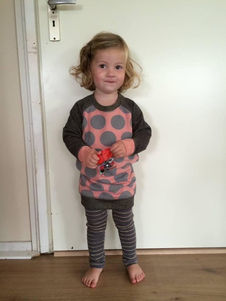 Claessens Kinderkleding.Claesens Kinderkleding Legging Bruin Grijs Gestreept Met Glitters