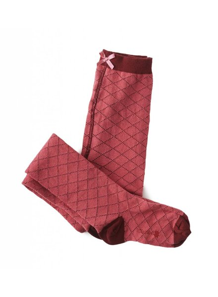 Tights dark pink argyle baby