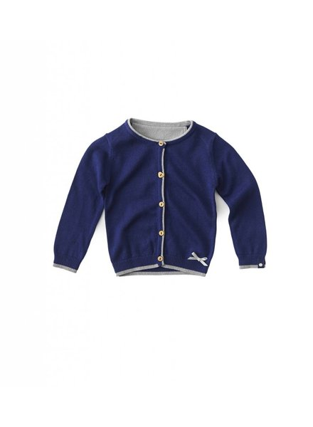Knitted girls cardigan uni navy blue