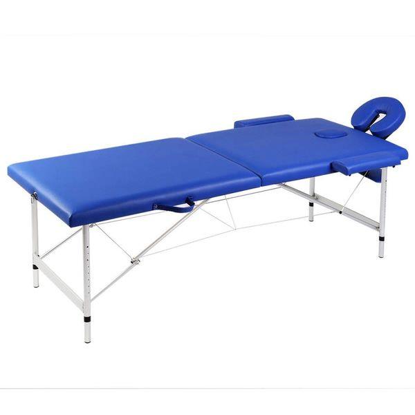 Inklapbare massagetafel 2 zones met aluminium frame (blauw)