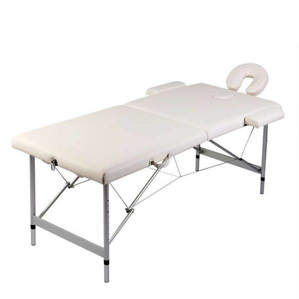 Inklapbare massagetafel 2 zones met aluminium frame (creme)