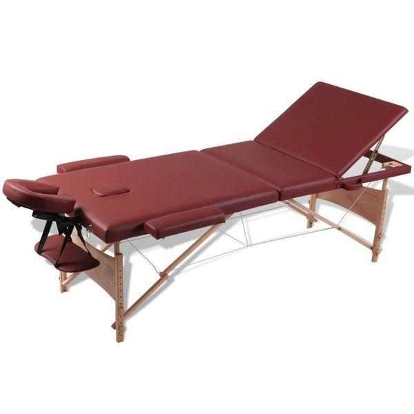 Inklapbare massagetafel 3 zones met houten frame (Rood)