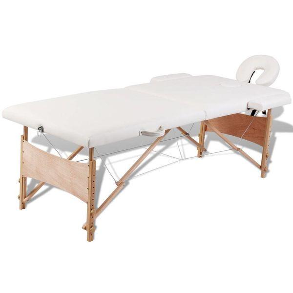 Inklapbare massagetafel 2 zones met houten frame (creme)