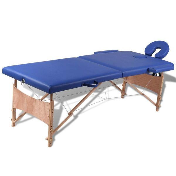 Inklapbare massagetafel 2 zones met houten frame (blauw)