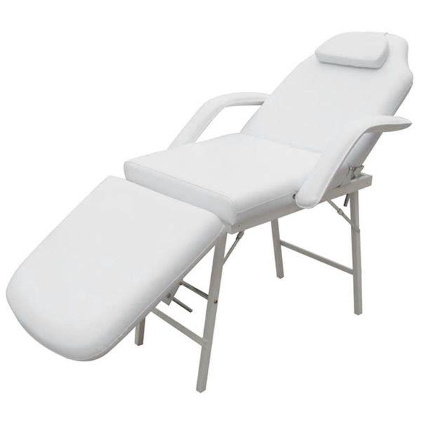 Behandelstoel met verstelbaar rug-en voetendeel wit