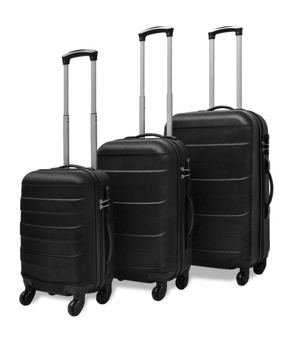 vidaXL Harde kofferset 3-delig zwart