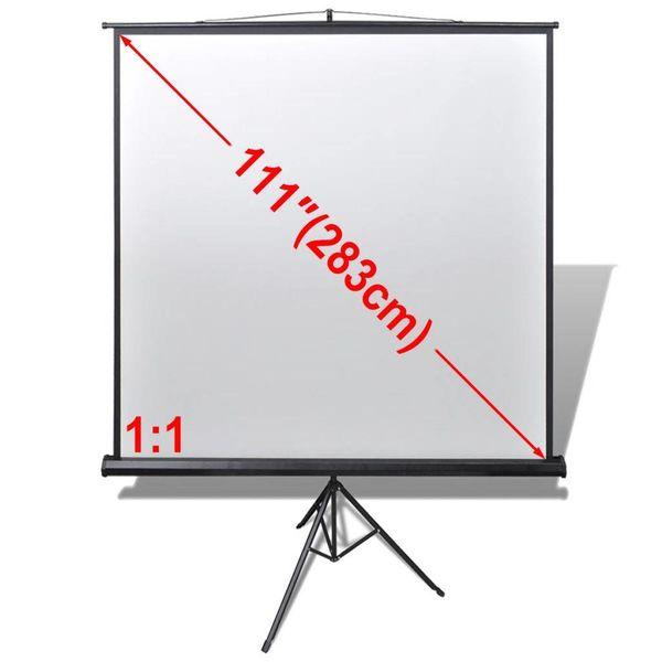 Projectiescherm wit + in hoogte verstelbaar statief 200 x 200 cm (1:1)