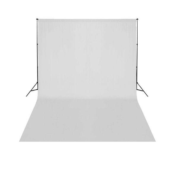 Achtergrondsysteem met wit doek 500 x 300 cm.