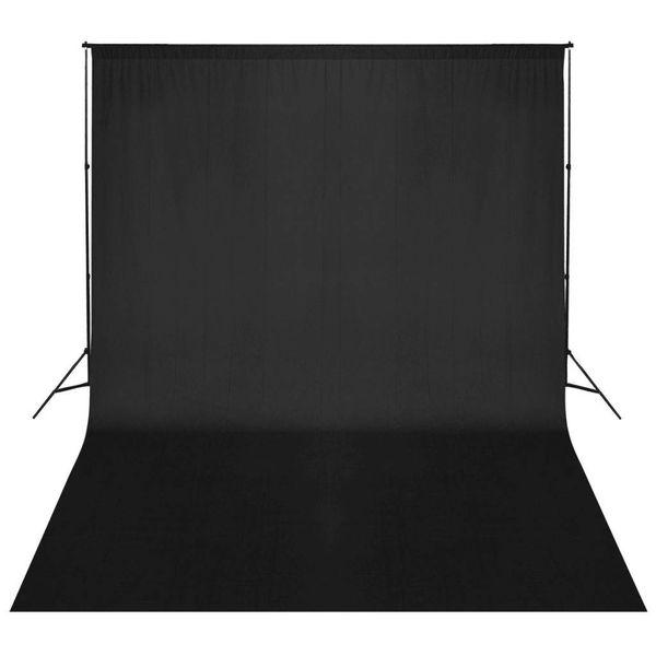 Achtergrondsysteem met zwart doek 500x300 cm