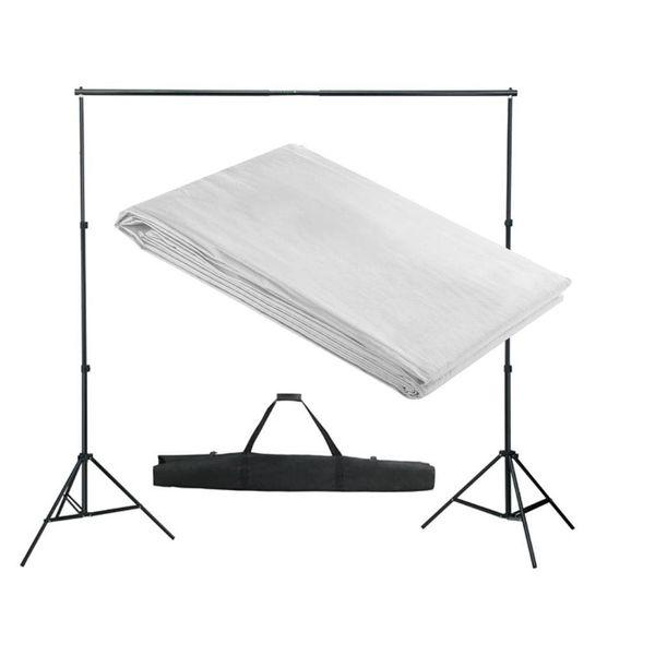 Achtergrondsysteem met wit doek 300 x 300 cm.