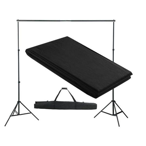 Achtergrondsysteem met zwart doek 300 x 300 cm.