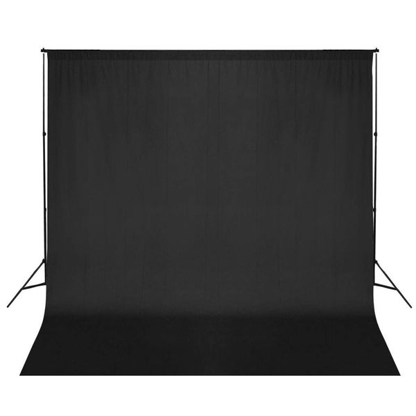 Achtergrondsysteem met zwart doek 600 x 300 cm