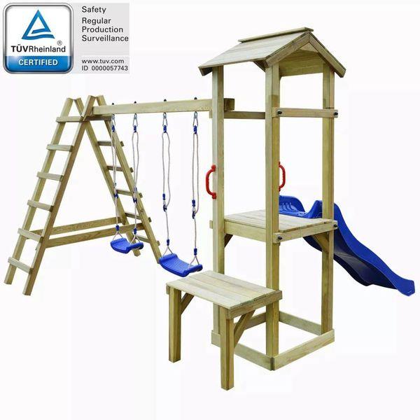Speelhuis + glijbaan/ladder/schommels 286x228x218 cm grenenhout
