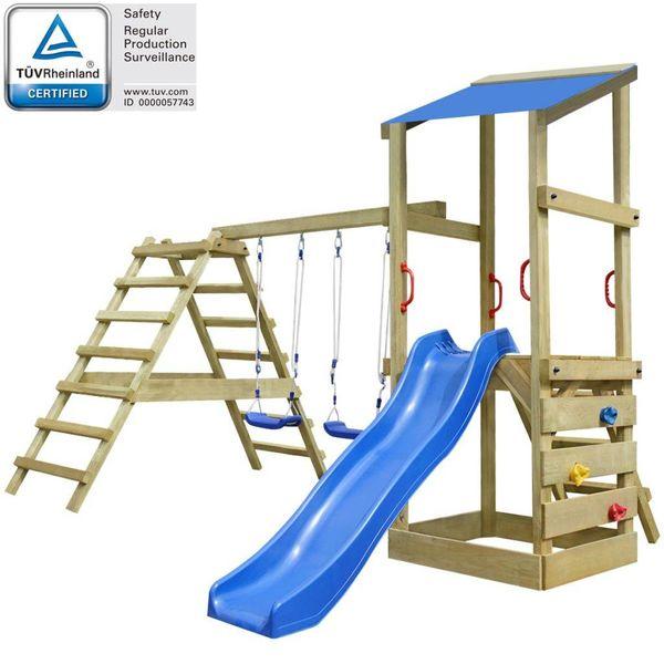 Speelhuis met ladder, glijbaan en schommels 356x255x235 cm hout