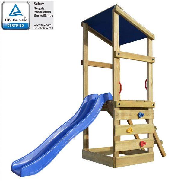 Speelhuis met ladder en glijbaan 260x90x235 cm hout