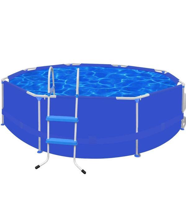 Voordeeltrends Rond Zwembad met stalen frame + ladder 300 x 76 cm