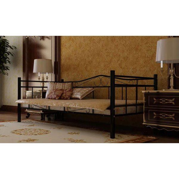 1-persoons bed van metaal 90 x 200 cm.
