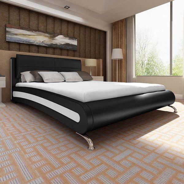 Bed + traagschuim matras modern kunstleer zwart/wit 140x200 cm