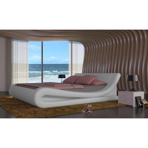 2 persoons bed van kunstleer 140 x 200 cm (wit)