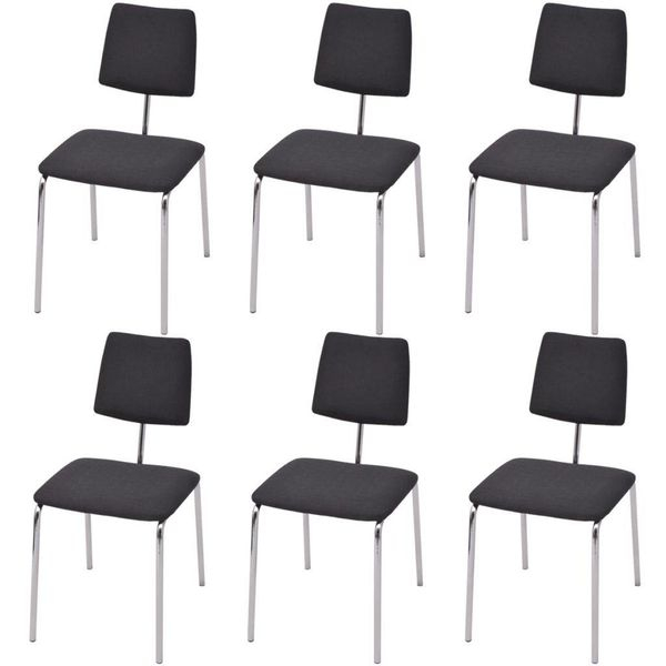 274197  Eetstoel 6 stuks Zwart Stof (6x242302)
