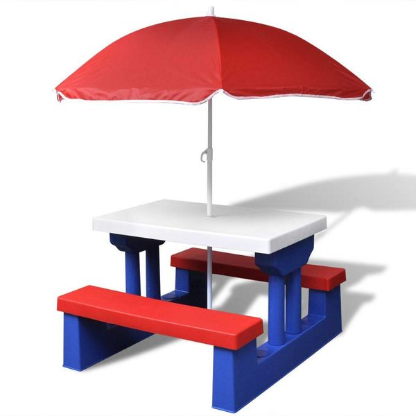 Kinderpicknicktafel met parasol