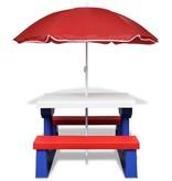 vidaXL Kinderpicknicktafel met parasol