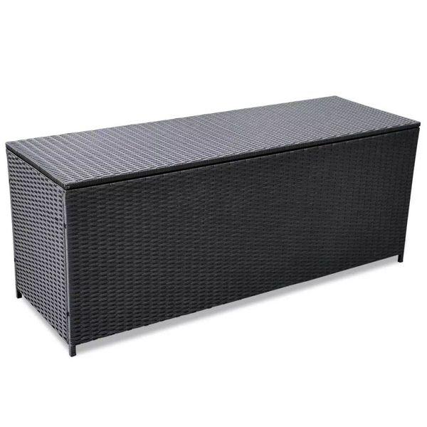 Opslagkist voor buiten poly rattan zwart 150x50x60 cm