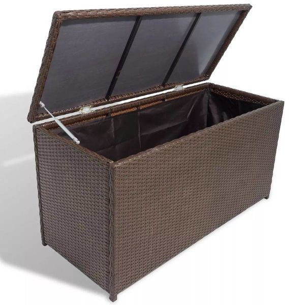 Opbergbox voor in de tuin poly rattan bruin