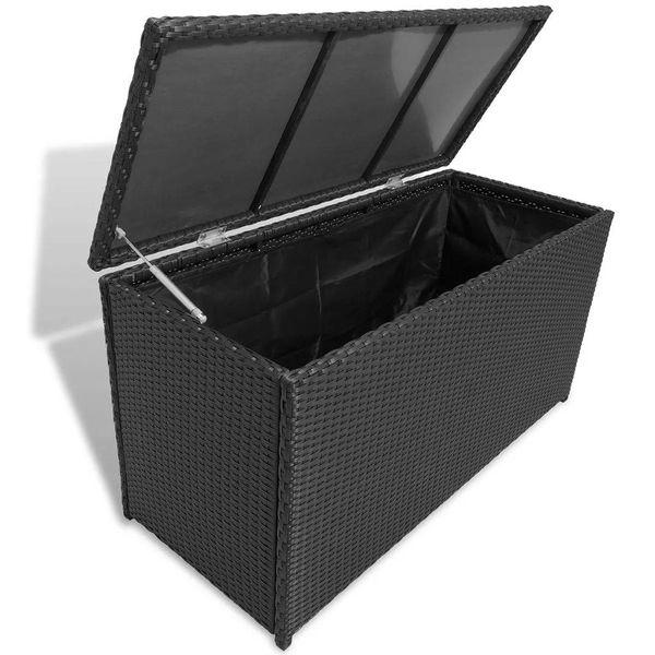 Opbergbox voor in de tuin poly rattan zwart