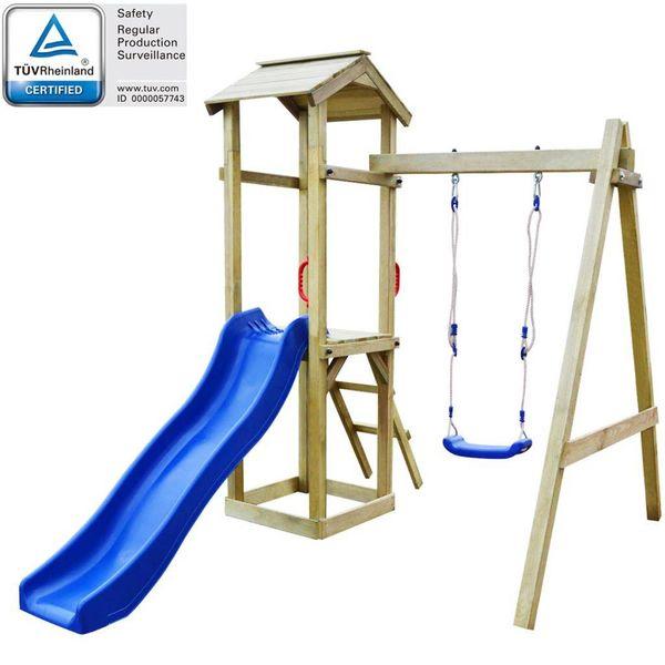 Speelhuis & glijbaan/ladder/schommels 237x168x218 cm grenenhout