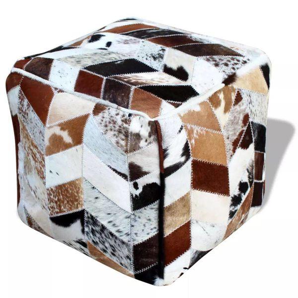 Poef echt leer vierkant meerkleurig 45x45x45 cm