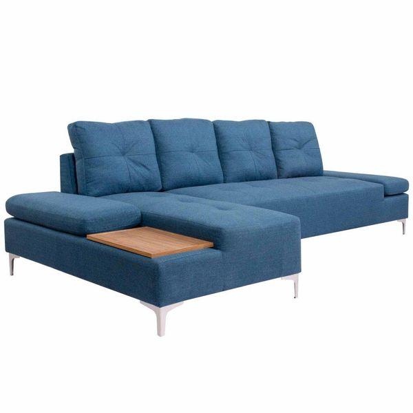 Bank L-vormig met houten blad XXL 300 cm stof blauw