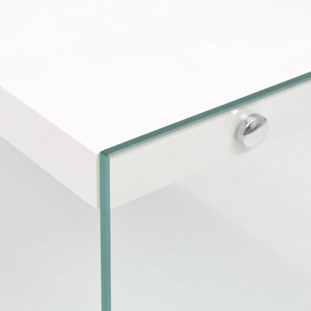 vidaXL Boekenkast met 4 schappen glas MDF hoogglans wit - Voordeeltrends