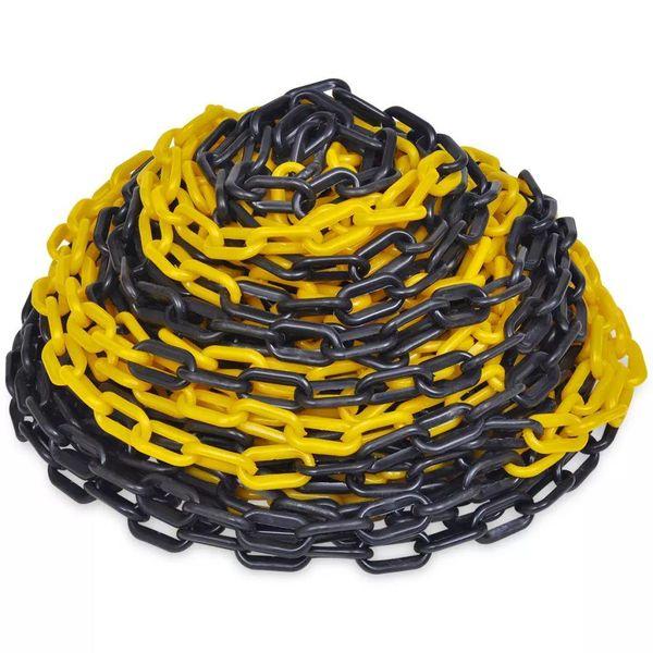 Veiligheidsketting 30 m kunststof geel en zwart