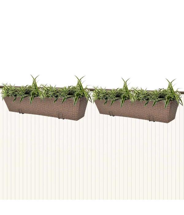 vidaXL Trapezium balkon plantenbak 80 cm rattan bruin 2 st