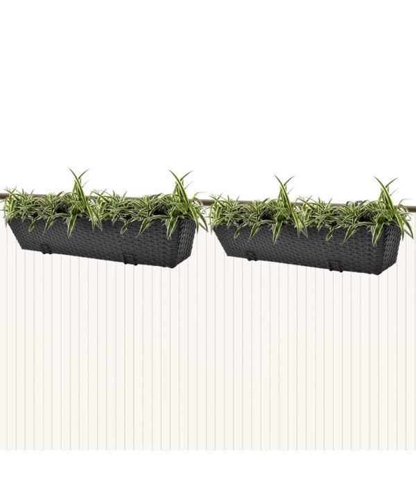 vidaXL Trapezium balkon plantenbak 80 cm rattan zwart 2 st