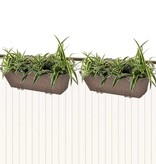vidaXL Trapezium balkon plantenbak 50 cm rattan bruin 2 st