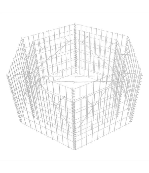 vidaXL Zeshoekige schanskorf plantenbak 100x90x50 cm