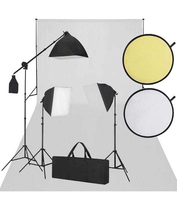 vidaXL Fotostudio set met wit scherm, 3 lampen & reflector