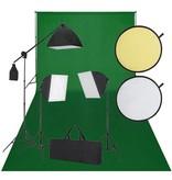 vidaXL Fotostudio set met groen scherm, 3 lampen & reflector