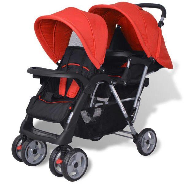 Dubbele kinderwagen staal rood en zwart